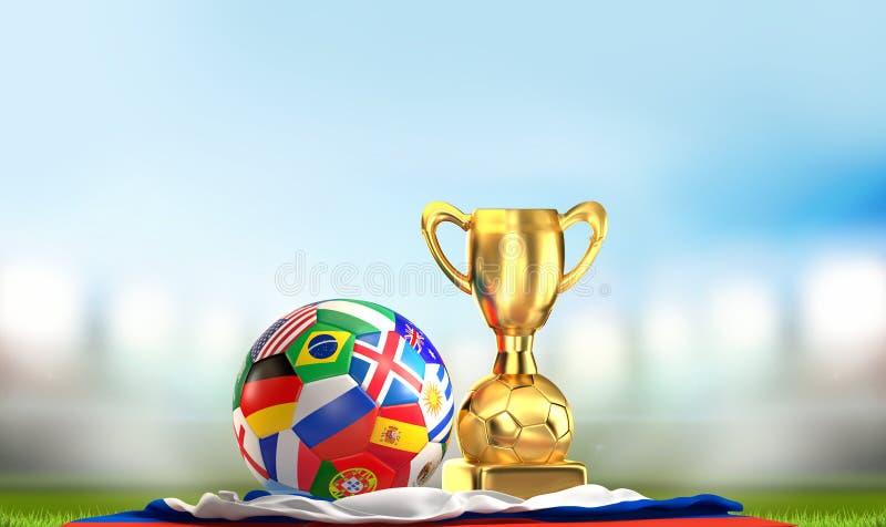 Σφαίρα Ρωσία σημαιών ποδοσφαίρου με τη χρυσή τρισδιάστατη απεικόνιση τροπαίων διανυσματική απεικόνιση