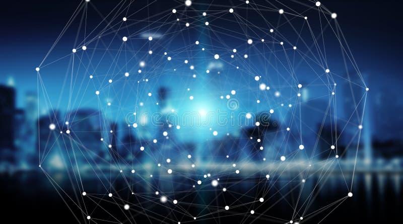 Σφαίρα συστημάτων συνδέσεων και τρισδιάστατη απόδοση ανταλλαγών datas ελεύθερη απεικόνιση δικαιώματος