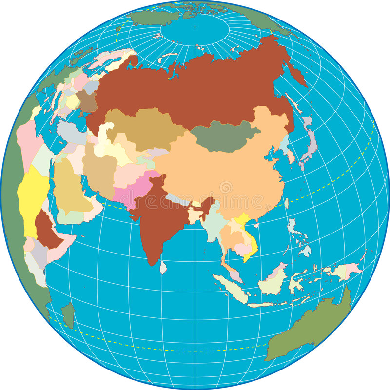 σφαίρα της Ασίας απεικόνιση αποθεμάτων