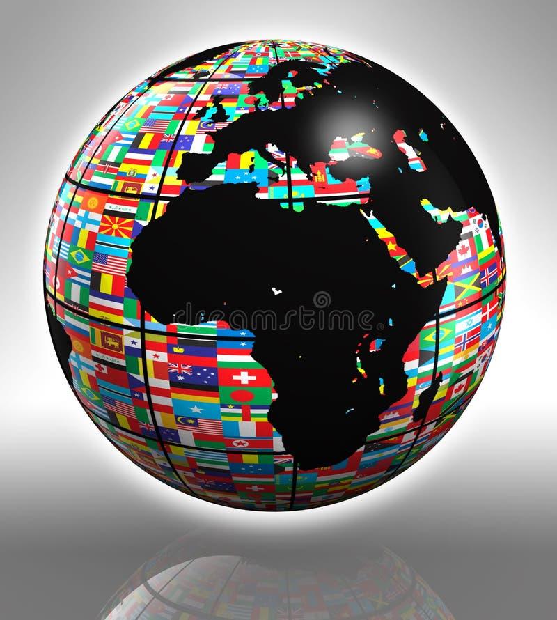 σφαίρα της γήινης Ευρώπης της Αφρικής ελεύθερη απεικόνιση δικαιώματος