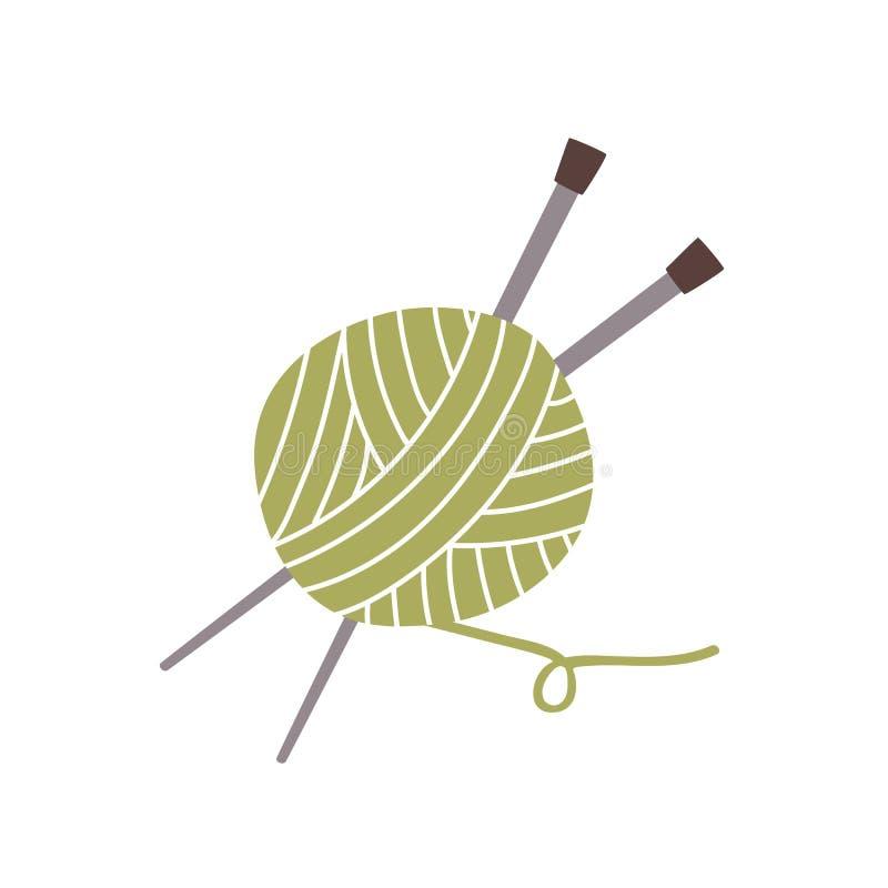 Σφαίρα του νήματος, του νήματος και των πλέκοντας βελόνων που απομονώνονται στο άσπρο υπόβαθρο Χόμπι ή βιοτεχνία, μάλλινη υφαντικ απεικόνιση αποθεμάτων