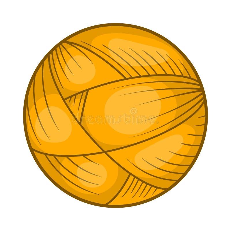 Σφαίρα του νήματος μαλλιού για το πλέξιμο του εικονιδίου, ύφος κινούμενων σχεδίων απεικόνιση αποθεμάτων