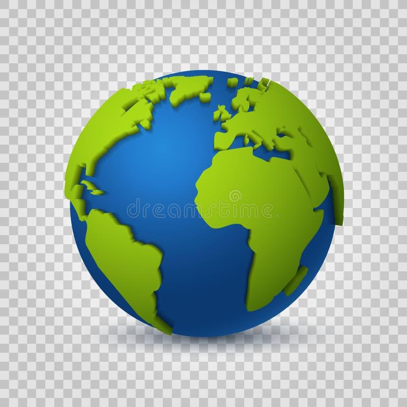 Σφαίρα τρισδιάστατη Χάρτης γήινων κόσμων του πράσινου διαστημικού πλανήτη Σφαιρική ψηφιακή ρεαλιστική διανυσματική σύγχρονη έννοι διανυσματική απεικόνιση