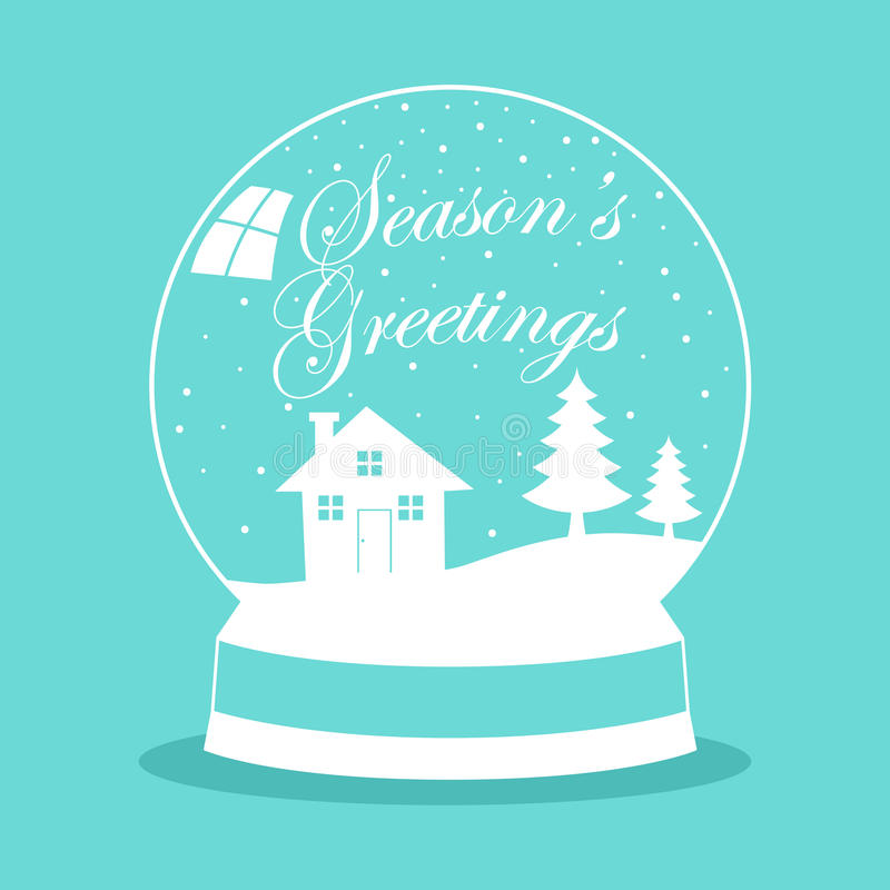 Σφαίρα χιονιού για το θέμα Χριστουγέννων ελεύθερη απεικόνιση δικαιώματος
