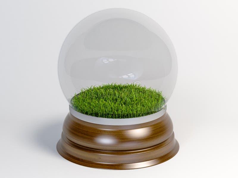 Σφαίρα χιονιού γυαλιού με το πράσινο εσωτερικό χλόης που απομονώνεται στο άσπρο υπόβαθρο στοκ εικόνες με δικαίωμα ελεύθερης χρήσης