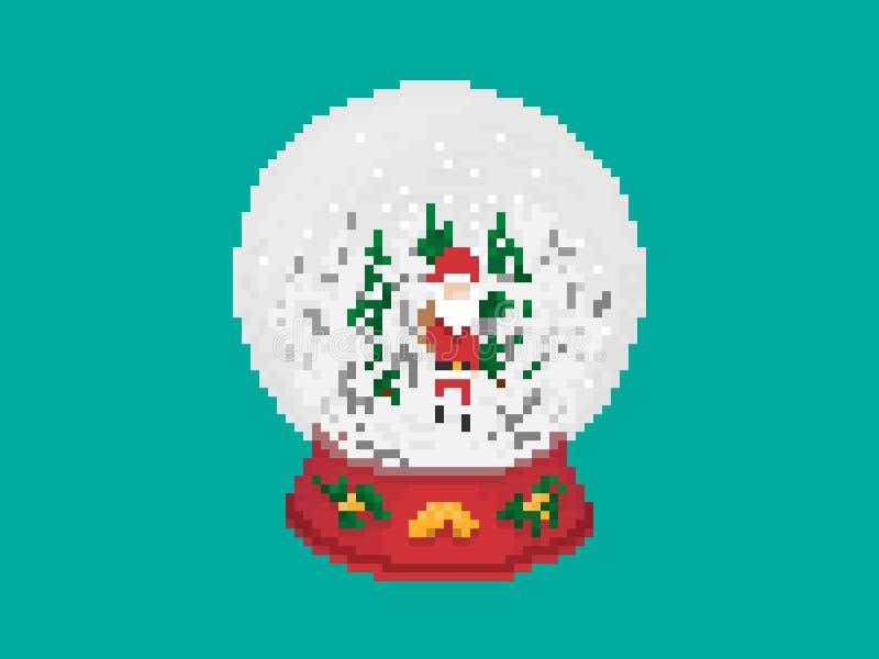 Σφαίρα χιονιού γυαλιού Χριστουγέννων στο ύφος τέχνης εικονοκυττάρου στοκ φωτογραφία με δικαίωμα ελεύθερης χρήσης