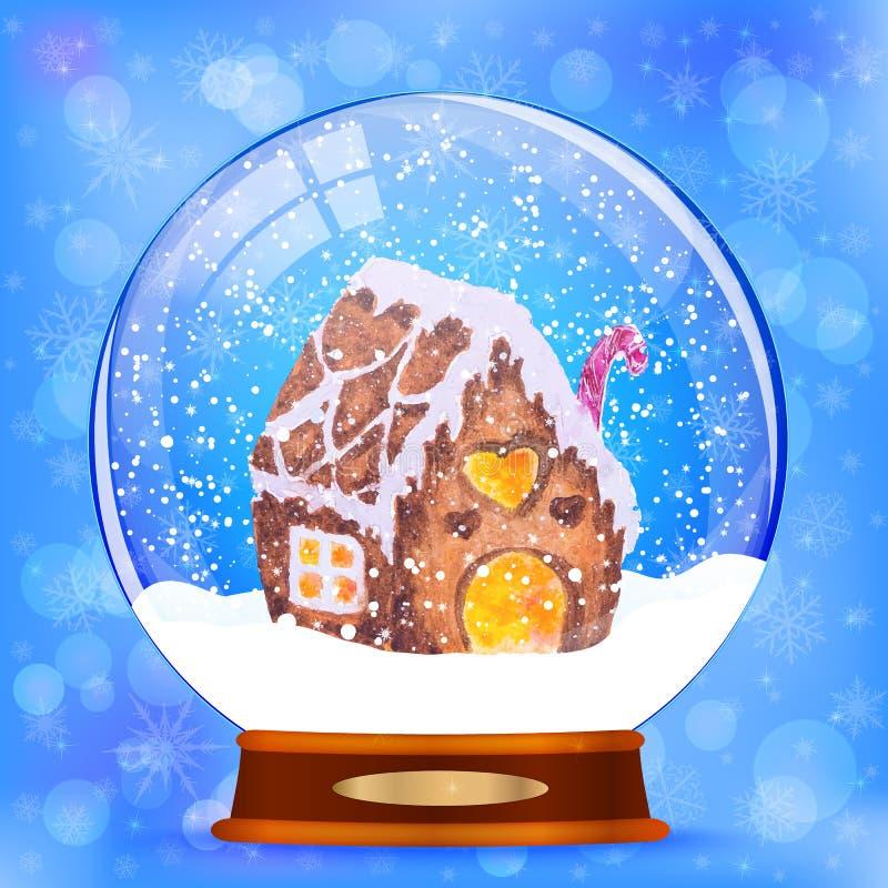 Σφαίρα χιονιού με το διανυσματικό υπόβαθρο σπιτιών μελοψωμάτων ελεύθερη απεικόνιση δικαιώματος