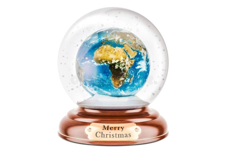 Σφαίρα χιονιού Χριστουγέννων με τη γήινη σφαίρα μέσα, τρισδιάστατη απόδοση απεικόνιση αποθεμάτων