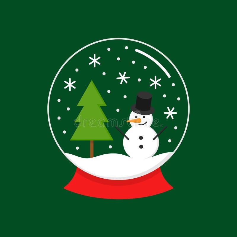 Σφαίρα χιονιού Χριστουγέννων με το διάνυσμα χιονανθρώπων διανυσματική απεικόνιση