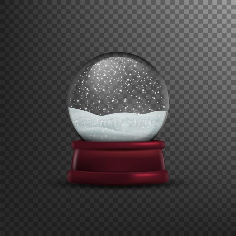 Σφαίρα χιονιού Χριστουγέννων που απομονώνεται στο διαφανές υπόβαθρο επίσης corel σύρετε το διάνυσμα απεικόνισης διανυσματική απεικόνιση
