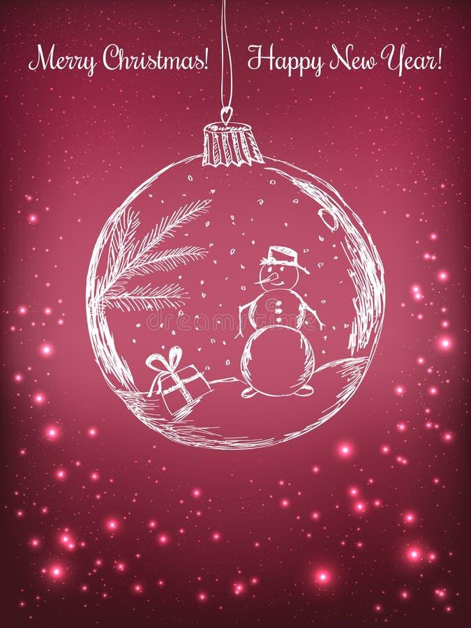Σφαίρα Χριστουγέννων γραφής με το χιονάνθρωπο για τον εορτασμό Χαρούμενα Χριστούγεννας στο πορφυρό υπόβαθρο με το φως, αστέρια Δι ελεύθερη απεικόνιση δικαιώματος