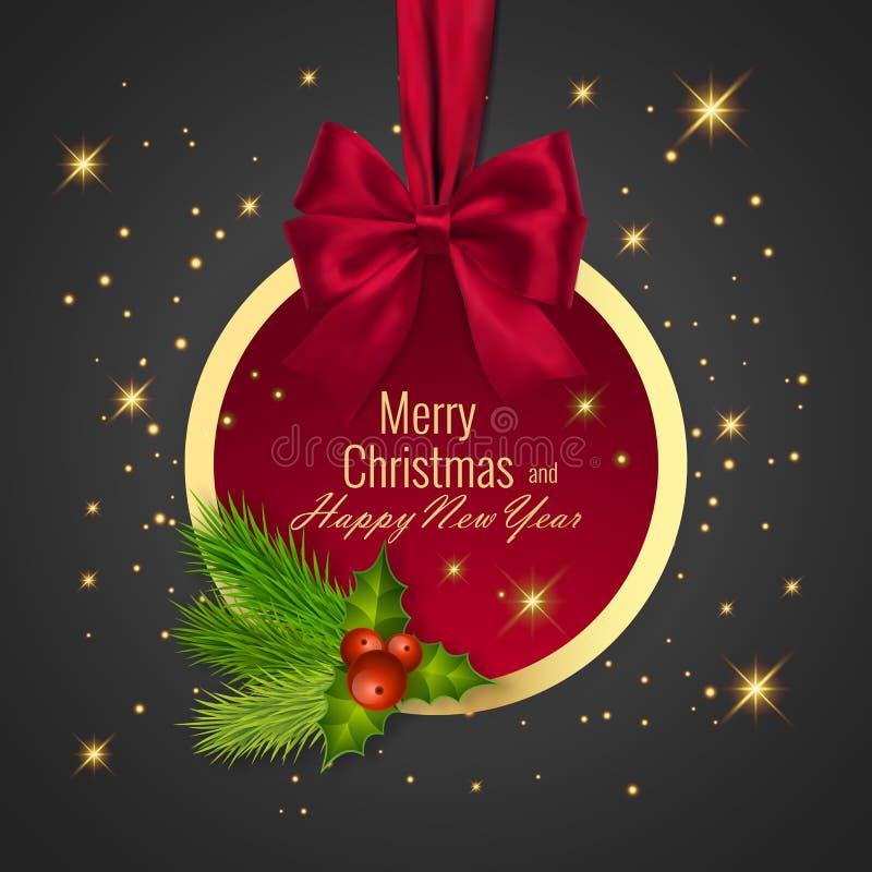 Σφαίρα Χριστουγέννων, διακοπές γύρω από το πλαίσιο Έμβλημα με την κόκκινη κορδέλλα και τόξο για καλή χρονιά ελεύθερη απεικόνιση δικαιώματος