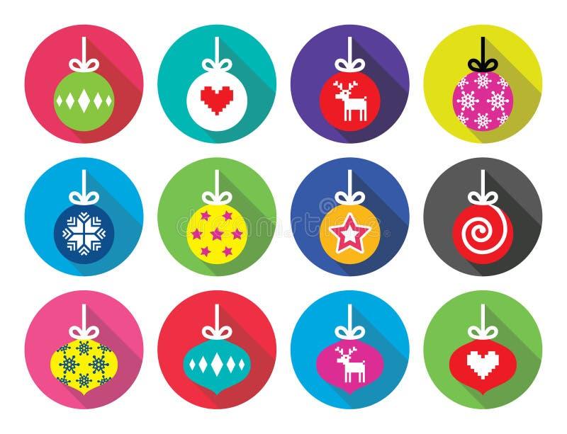 Σφαίρα Χριστουγέννων, επίπεδα εικονίδια σχεδίου μπιχλιμπιδιών Χριστουγέννων απεικόνιση αποθεμάτων
