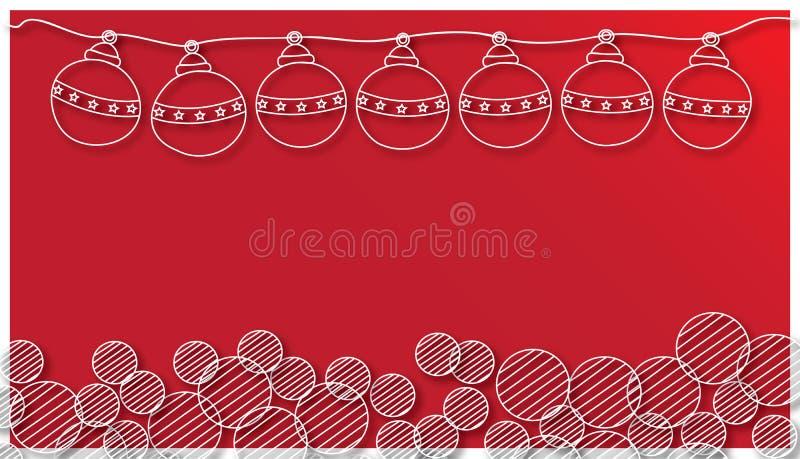 Σφαίρα Χριστουγέννων και στρογγυλό Snowflake στο κόκκινο υπόβαθρο ελεύθερη απεικόνιση δικαιώματος