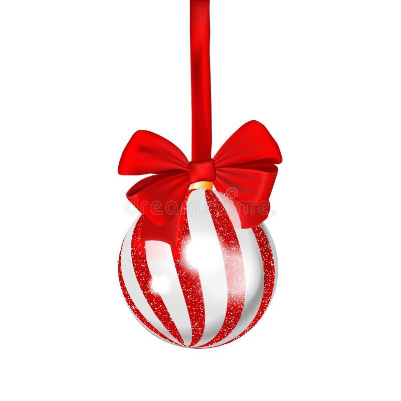 Σφαίρα Χριστουγέννων με την κόκκινη κορδέλλα που απομονώνεται στο άσπρο υπόβαθρο δρύινο διάνυσμα προτύπων κορδελλών φύλλων δαφνών ελεύθερη απεικόνιση δικαιώματος