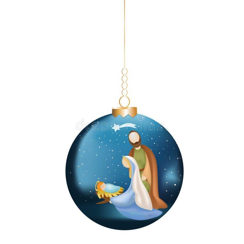 Σφαίρα Χριστουγέννων με τη χριστιανική σκηνή nativity στο μπλε υπόβαθρο ελεύθερη απεικόνιση δικαιώματος