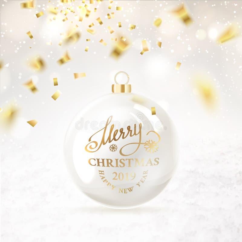 Σφαίρα Χριστουγέννων με το κομφετί ελεύθερη απεικόνιση δικαιώματος
