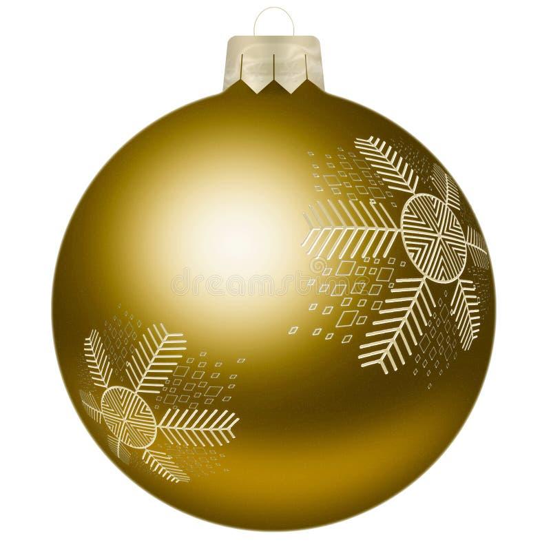 Σφαίρα Χριστουγέννων με snowflake στο κίτρινο χρώμα στοκ φωτογραφία με δικαίωμα ελεύθερης χρήσης