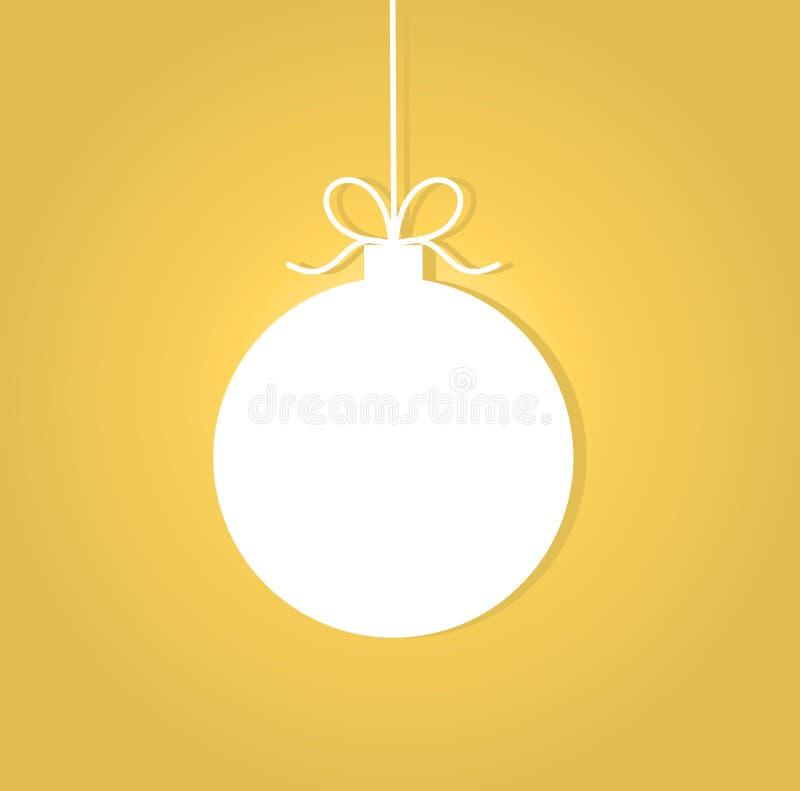 Σφαίρα Χριστουγέννων στο χρυσό υπόβαθρο διανυσματική απεικόνιση