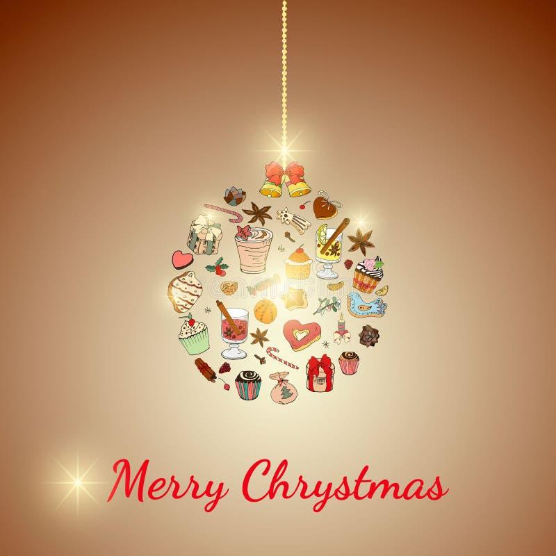 Σφαίρα Χριστουγέννων Σύνολο διάφορων παραδοσιακών χειμερινών επιδορπίων και ποτών Πρότυπο για το σχέδιο εποχής και Χριστουγέννων, διανυσματική απεικόνιση