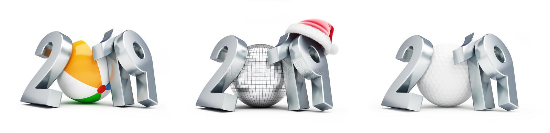Σφαίρα Disco, σφαίρα γκολφ, νέο σύνολο καπέλων 2019 santa έτους σφαιρών παραλιών σε μια άσπρη τρισδιάστατη απεικόνιση υποβάθρου,  απεικόνιση αποθεμάτων