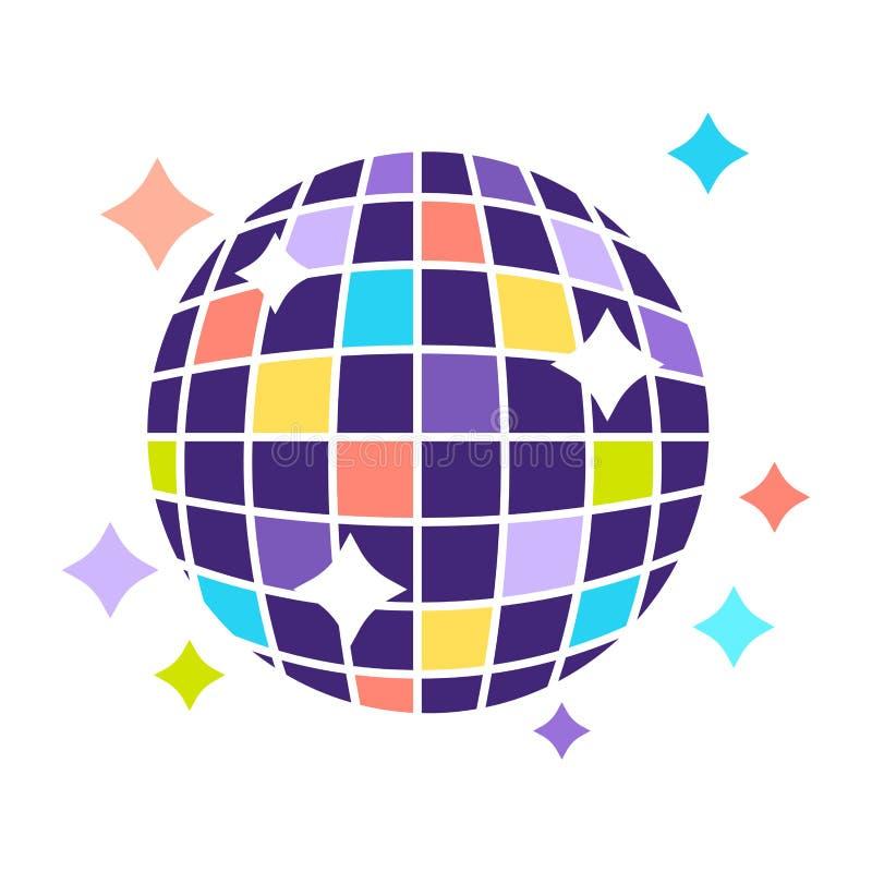 Σφαίρα disco λεσχών νύχτας με το λαμπιρίζοντας διανυσματικό επίπεδο εικονίδιο κομμάτων φω'των ελεύθερη απεικόνιση δικαιώματος