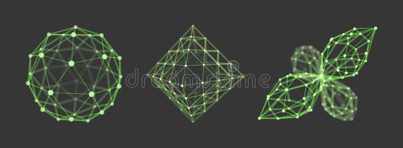 Σφαίρα octahedron τρισδιάστατο διανυσματικό αντικείμενο wireframe Απεικόνιση με τις συνδεδεμένα γραμμές και τα σημεία Γεωμετρική  απεικόνιση αποθεμάτων
