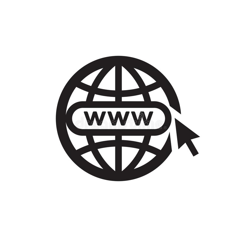 Σφαίρα WWW με το βέλος - μαύρο εικονίδιο στην άσπρη διανυσματική απεικόνιση υποβάθρου για τον ιστοχώρο, κινητή εφαρμογή, παρουσία απεικόνιση αποθεμάτων