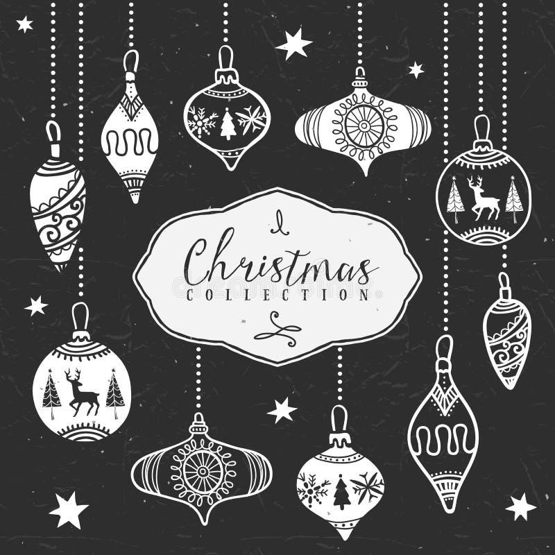 Σφαίρες δέντρων κιμωλίας Συλλογή Χριστουγέννων ελεύθερη απεικόνιση δικαιώματος