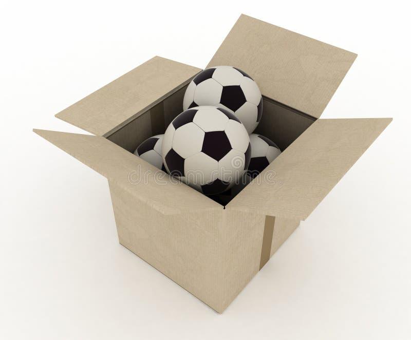 Σφαίρες αθλητικού ποδοσφαίρου στο κιβώτιο χαρτοκιβωτίων ελεύθερη απεικόνιση δικαιώματος