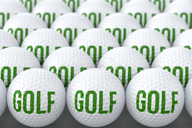 Σφαίρες γκολφ με το γκολφ κειμένων διανυσματική απεικόνιση