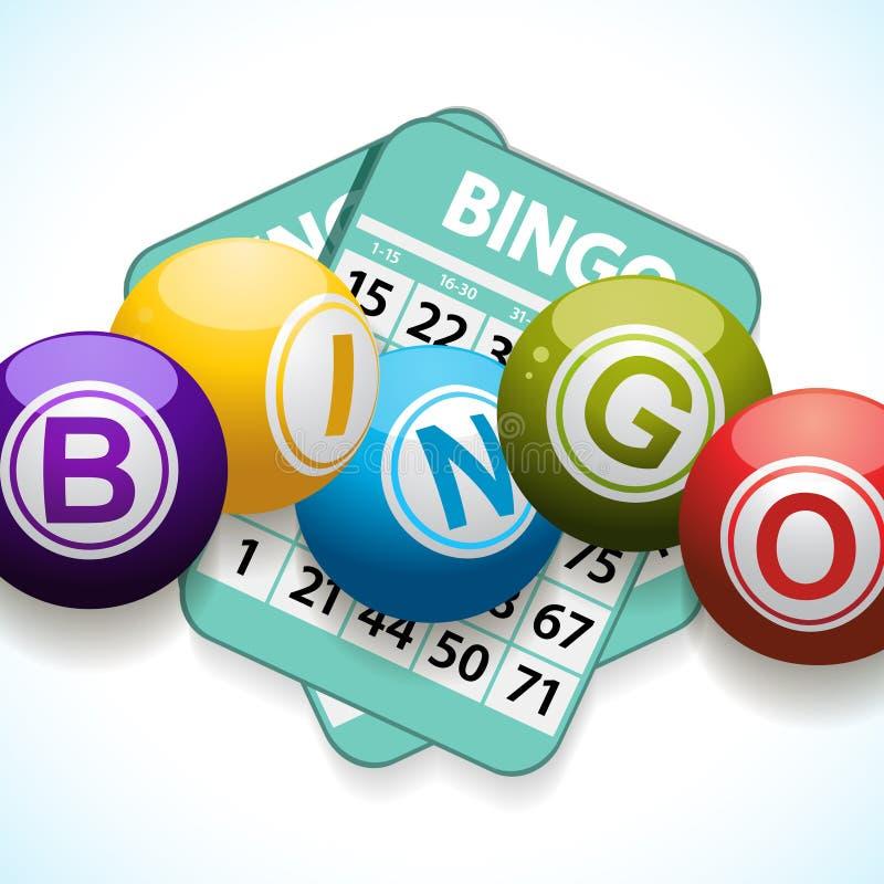 Σφαίρες και κάρτα Bingo σε ένα άσπρο υπόβαθρο απεικόνιση αποθεμάτων