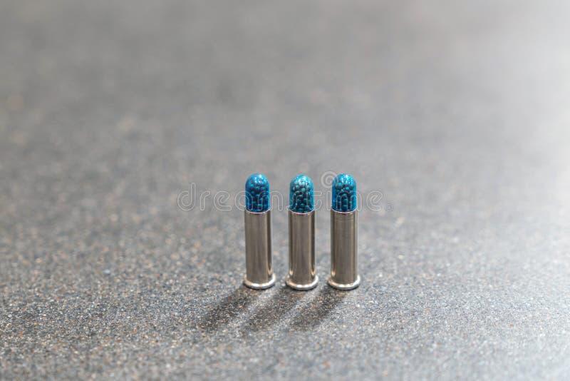 3 σφαίρες κατακόρυφα στον πίνακα - 22 μακριά πυρομαχικά Shotshell τουφεκιών στοκ εικόνες με δικαίωμα ελεύθερης χρήσης