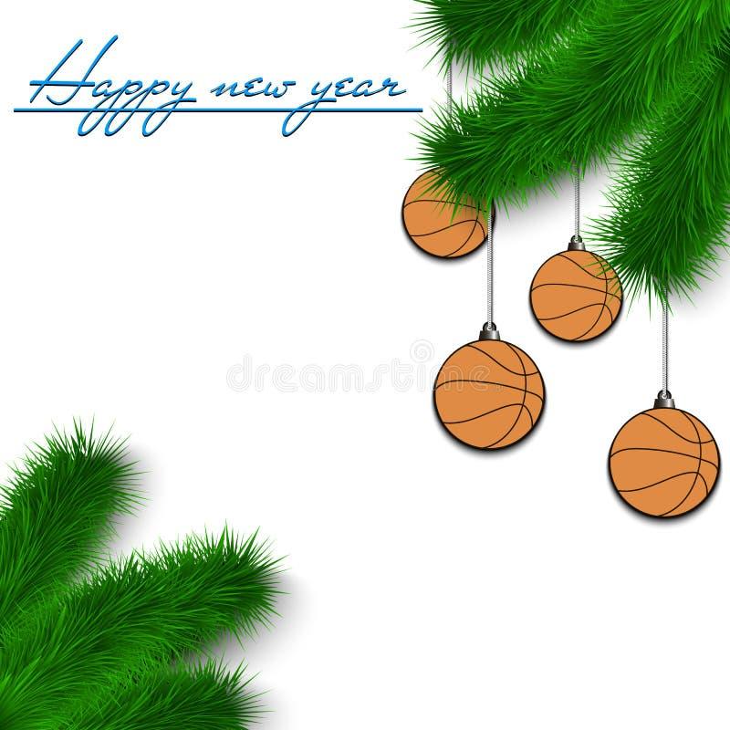 Σφαίρες καλαθοσφαίρισης στον κλάδο χριστουγεννιάτικων δέντρων ελεύθερη απεικόνιση δικαιώματος