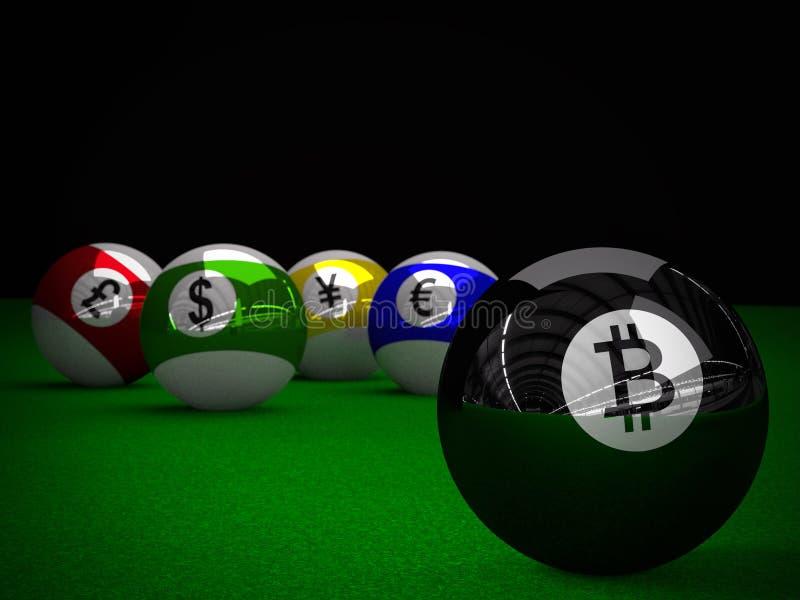 Σφαίρες λιμνών με Bitcoin, το αμερικανικό δολάριο, το ευρώ, τα γεν και τα βρετανικά σύμβολα λιβρών απεικόνιση αποθεμάτων