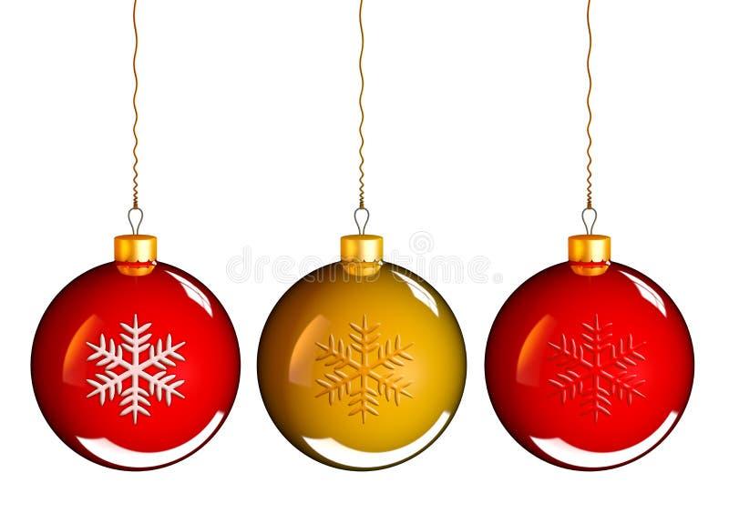 Σφαίρες μπιχλιμπιδιών Χριστουγέννων στο χρυσό κόκκινο διανυσματική απεικόνιση