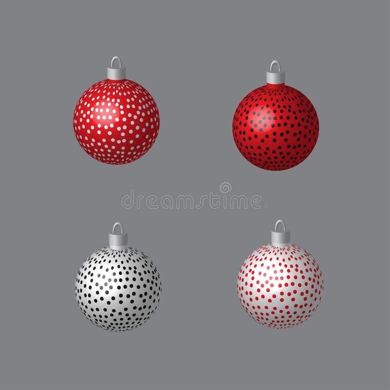 Σφαίρες που διαστίζονται διακοσμητικές για το χριστουγεννιάτικο δέντρο διανυσματική απεικόνιση