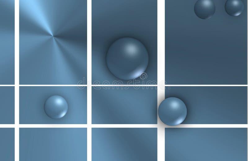 Σφαίρες που επιπλέουν στις διαγώνιες γραμμές πέρα από φωτεινό γαλαζωπό διανυσματική απεικόνιση