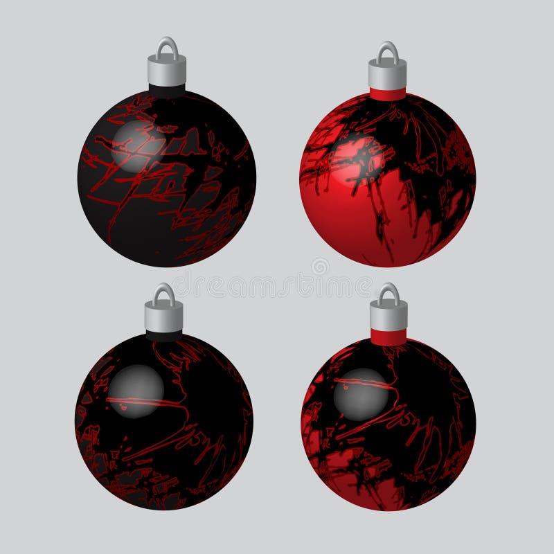 Σφαίρες που λεκιάζονται διακοσμητικές για το χριστουγεννιάτικο δέντρο ελεύθερη απεικόνιση δικαιώματος