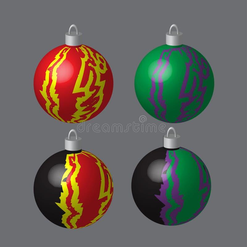 Σφαίρες που λεκιάζονται διακοσμητικές για το χριστουγεννιάτικο δέντρο απεικόνιση αποθεμάτων