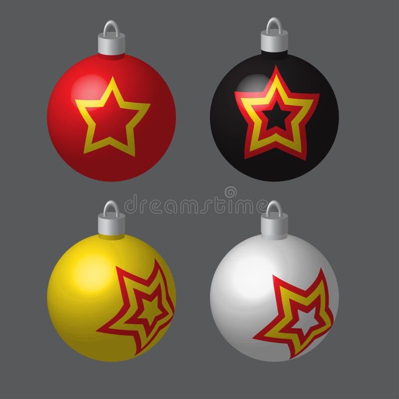 Σφαίρες που λεκιάζονται διακοσμητικές για το χριστουγεννιάτικο δέντρο διανυσματική απεικόνιση