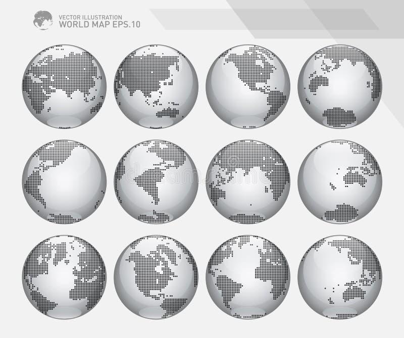 Σφαίρες που παρουσιάζουν γη με όλες τις ηπείρους Διαστιγμένο διάνυσμα παγκόσμιων σφαιρών ελεύθερη απεικόνιση δικαιώματος