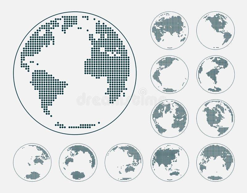 Σφαίρες που παρουσιάζουν γη με όλες τις ηπείρους Διαστιγμένο διάνυσμα παγκόσμιων σφαιρών διανυσματική απεικόνιση