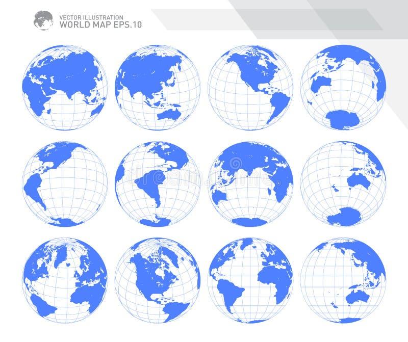 Σφαίρες που παρουσιάζουν γη με όλες τις ηπείρους Ψηφιακό διάνυσμα παγκόσμιων σφαιρών Διαστιγμένο διάνυσμα παγκόσμιων χαρτών διανυσματική απεικόνιση