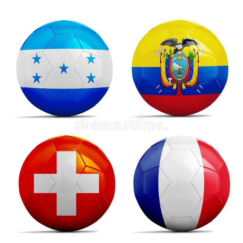 Σφαίρες ποδοσφαίρου με τις σημαίες ομάδων ομάδας Ε, ποδόσφαιρο Βραζιλία 2014. διανυσματική απεικόνιση