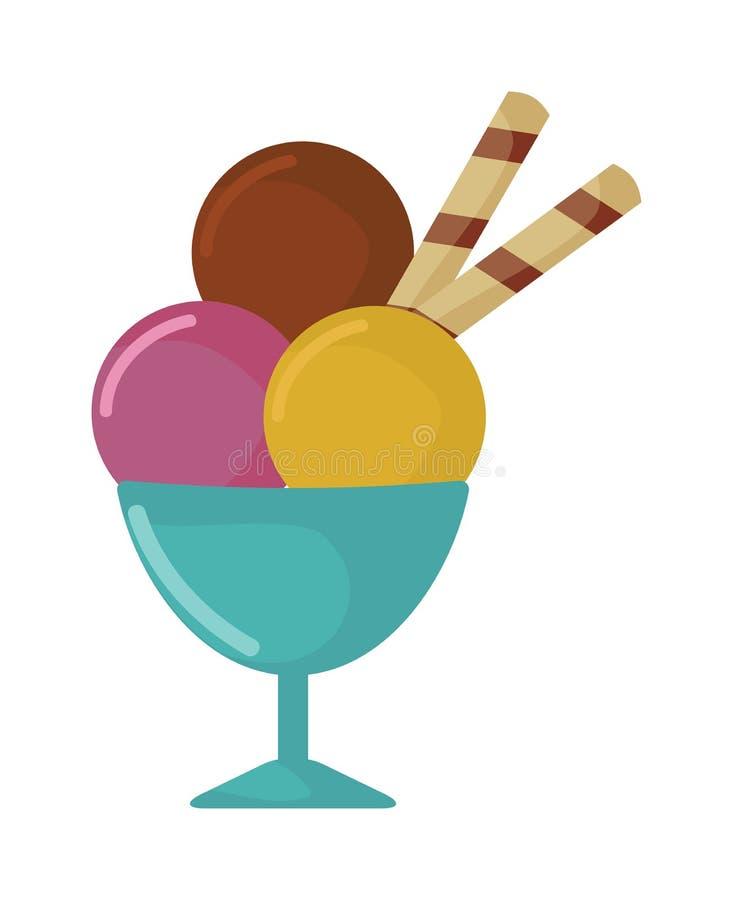 Σφαίρες του παγωτού στη διανυσματική απεικόνιση τροφίμων κινούμενων σχεδίων φλυτζανιών απεικόνιση αποθεμάτων