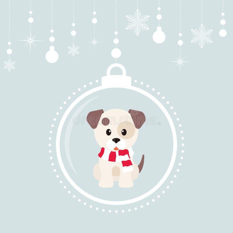Σφαίρες Χριστουγέννων κινούμενων σχεδίων με το χειμερινό σκυλί ελεύθερη απεικόνιση δικαιώματος