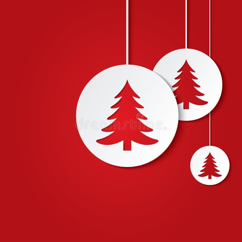 Σφαίρες Χριστουγέννων με τα χριστουγεννιάτικα δέντρα. διανυσματική απεικόνιση