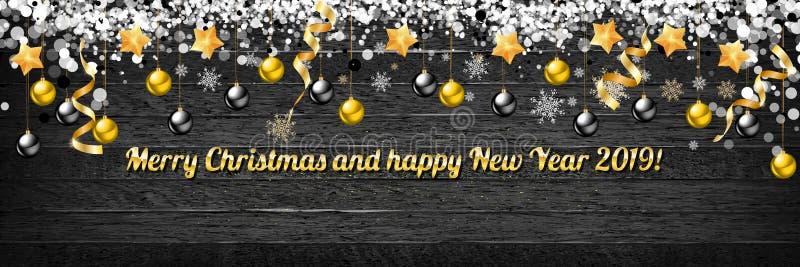Σφαίρες Χριστουγέννων με τα χρυσά αστέρια και κομφετί στο ξύλινο υπόβαθρο Χαρούμενα Χριστούγεννα και καλή χρονιά εγγραφής διακοπώ απεικόνιση αποθεμάτων