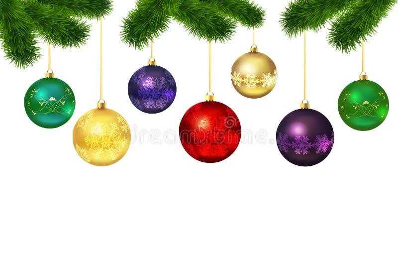 Σφαίρες Χριστουγέννων με τη διακόσμηση Πλαίσιο γούνα-δέντρων διανυσματική απεικόνιση